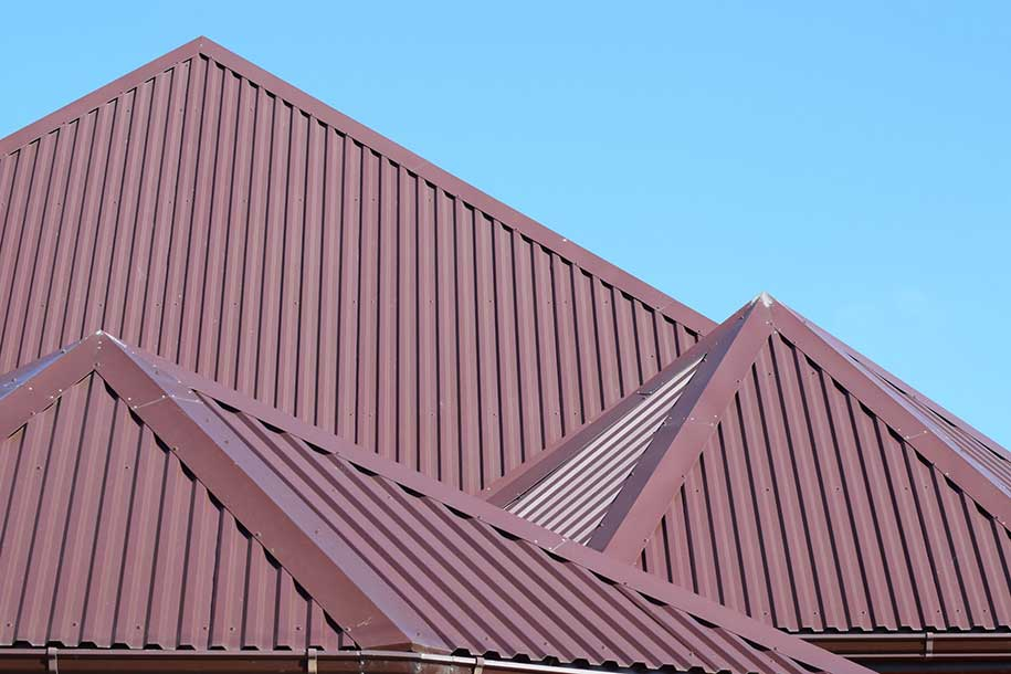 high pitched red metal roof