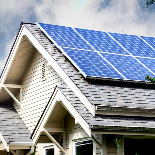 residential solar installation on home