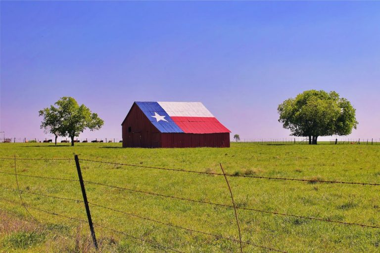 barn with texas flag on roof
